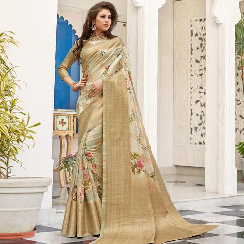 Ideal Light Grey Colored Partywear Digital Floral Printed Silk Saree