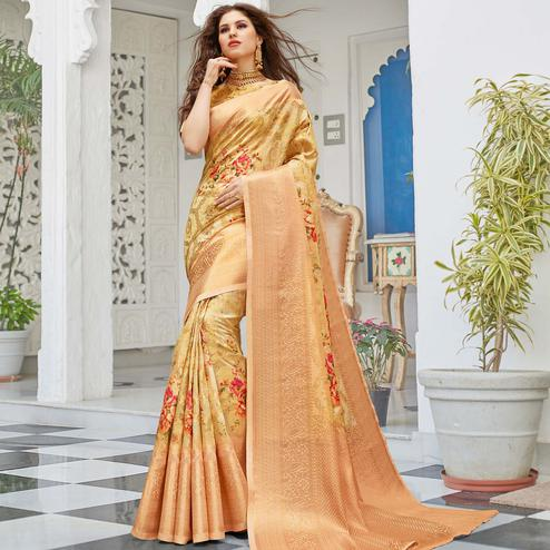 Imposing Golden Colored Partywear Digital Floral Printed Silk Saree