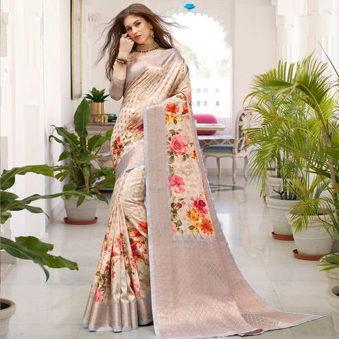 Lovely Light Grey Colored Partywear Digital Floral Printed Silk Saree