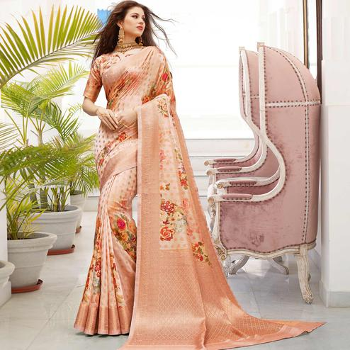 Majesty Peach Colored Partywear Digital Floral Printed Silk Saree