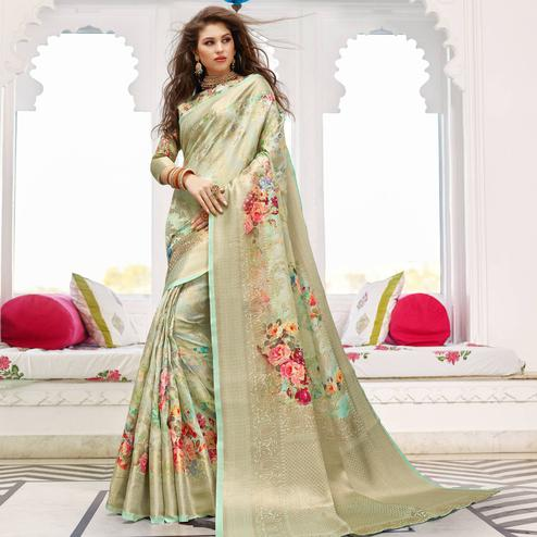 Impressive Green Colored Partywear Digital Floral Printed Silk Saree