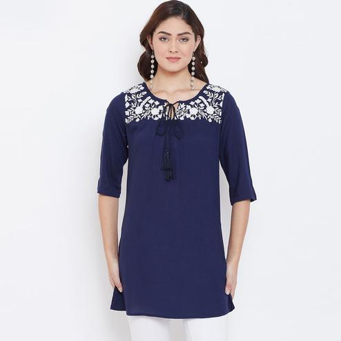 Sethi Daughters - Navy Blue Colored Casual Wear Floral Embroidered Rayon Tunic