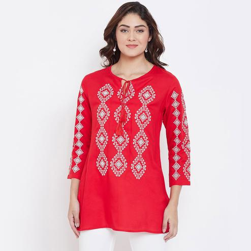 Sethi Daughters - Red Colored Casual Wear Embroidered Rayon Tunic
