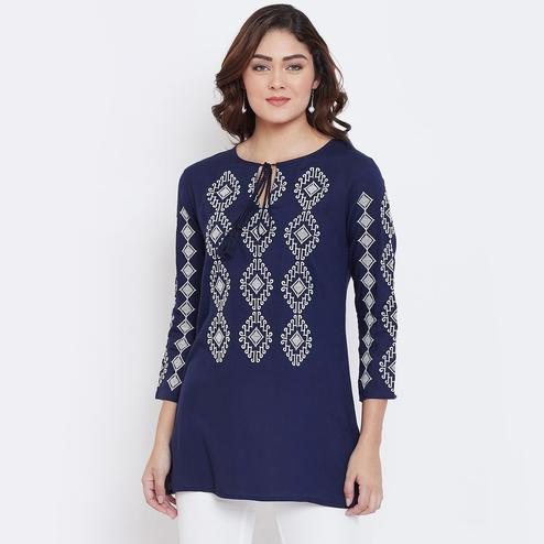 Sethi Daughters - Navy Blue Colored Casual Wear Embroidered Rayon Tunic