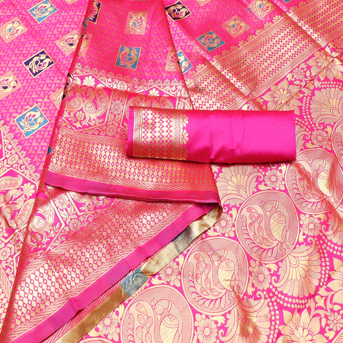 Desirable Pink Colored Festive Wear Woven Art Silk Kota Banarasi Saree With Tassels