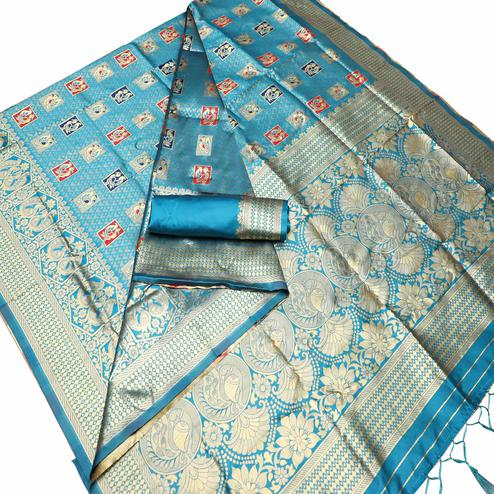 Trendy Sky Blue Colored Festive Wear Woven Art Silk Kota Banarasi Saree With Tassels