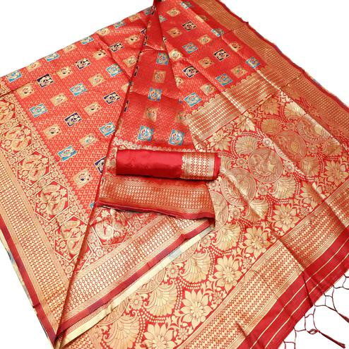 Elegant Red Colored Festive Wear Woven Art Silk Kota Banarasi Saree With Tassels
