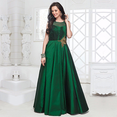 Buy Green Designer Party Wear Indo-Western Gown for womens online ...