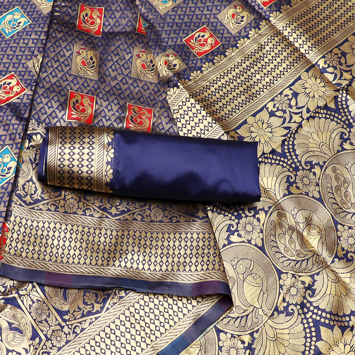 Radiant Navy Blue Colored Festive Wear Woven Art Silk Kota Banarasi Saree With Tassels