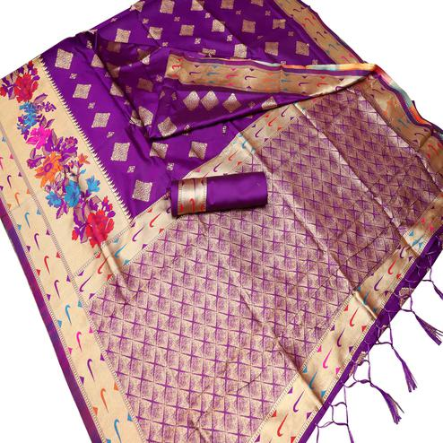 Preferable Purple Colored Festive Wear Woven Art Silk Kota Banarasi Saree With Tassels