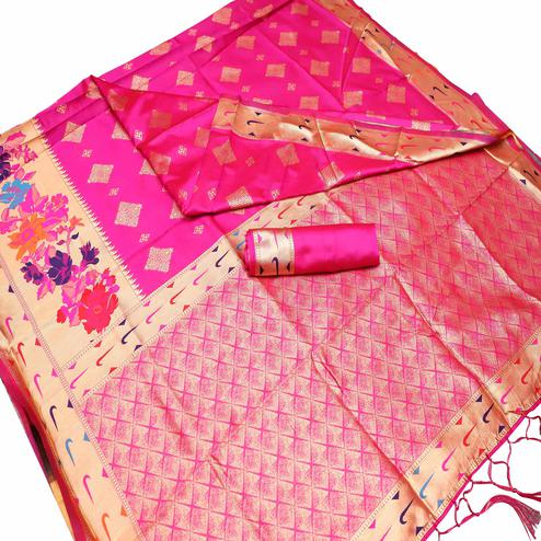 Flamboyant Pink Colored Festive Wear Woven Art Silk Kota Banarasi Saree With Tassels