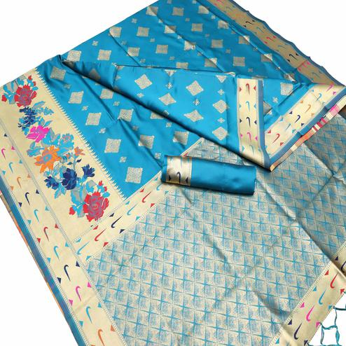 Pretty Sky Blue Colored Festive Wear Woven Art Silk Kota Banarasi Saree With Tassels