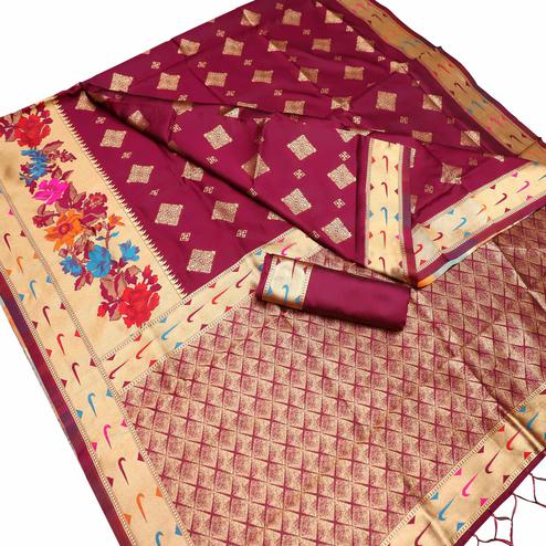 Alluring Maroon Colored Festive Wear Woven Art Silk Kota Banarasi Saree With Tassels