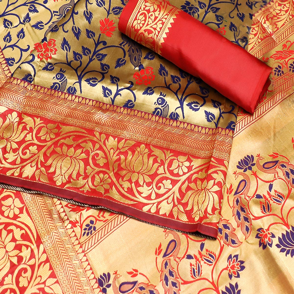 Ravishing Gold-Red Colored Festive Wear Woven Banarasi Paithani Saree