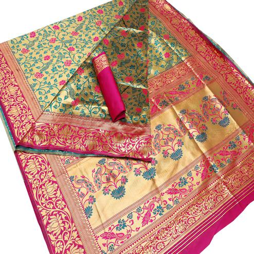Staring Gold-Pink Colored Festive Wear Woven Banarasi Paithani Saree