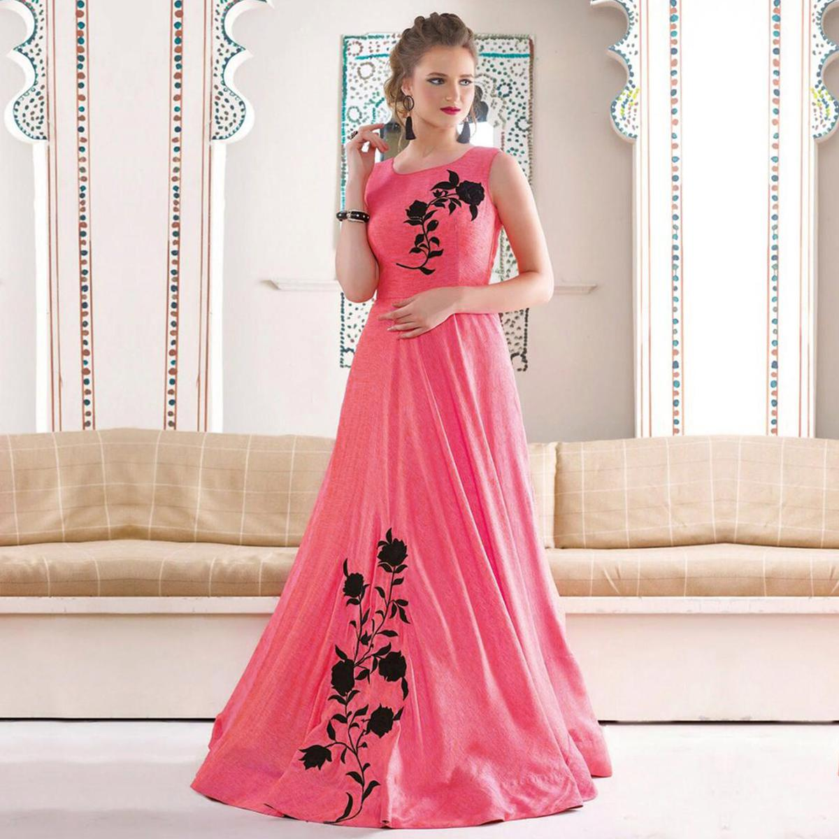 buy light peach designer party wear indowestern gown for