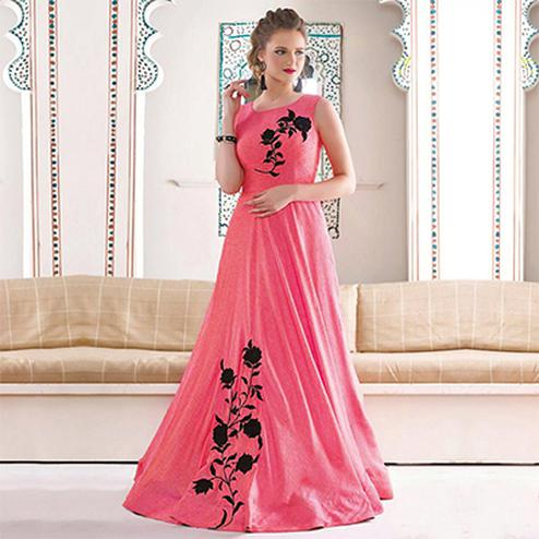 Light Peach-Pink Designer Party Wear Indo-Western Gown