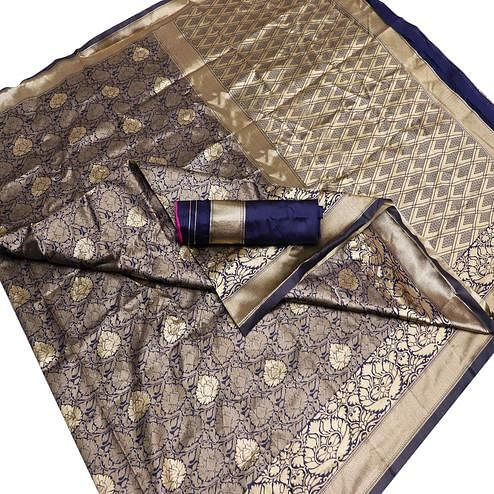 Innovative Navy Blue Colored Festive Wear Woven Banarasi Silk Saree
