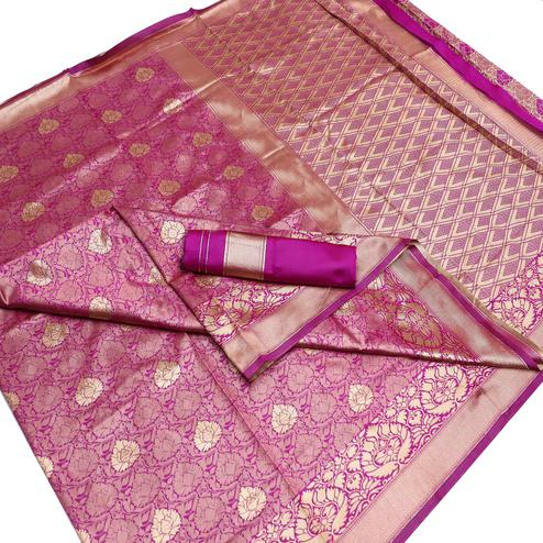 Fantastic Magenta Pink Colored Festive Wear Woven Banarasi Silk Saree