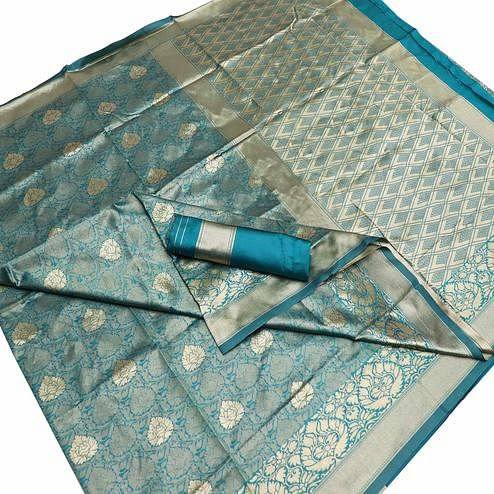Gorgeous Blue Colored Festive Wear Woven Banarasi Silk Saree