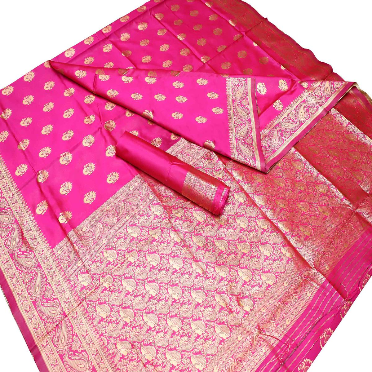 Radiant Pink Colored Festive Wear Woven Kota Art Silk Banarasi Saree