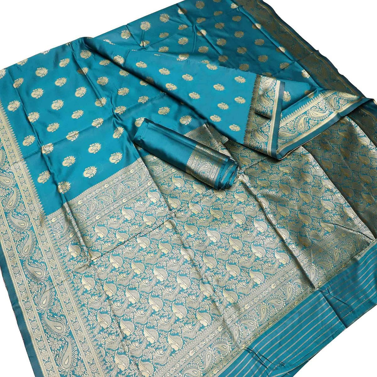 Classy Blue Colored Festive Wear Woven Kota Art Silk Banarasi Saree