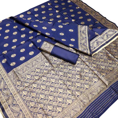 Groovy Navy Blue Colored Festive Wear Woven Kota Art Silk Banarasi Saree