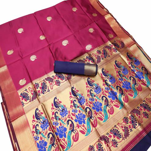 Adorable Pink Colored Festive Wear Woven Kota Art Silk Banarasi Saree