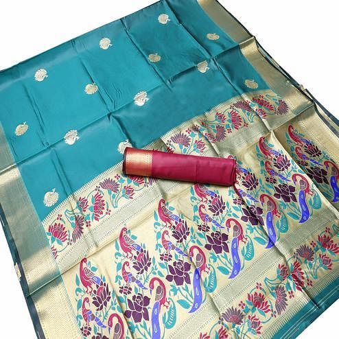 Glorious Blue Colored Festive Wear Woven Kota Art Silk Banarasi Saree