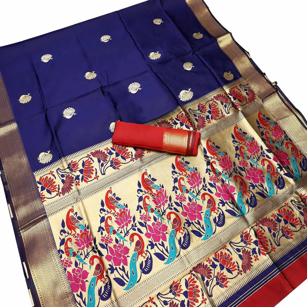 Graceful Navy Blue Colored Festive Wear Woven Kota Art Silk Banarasi Saree
