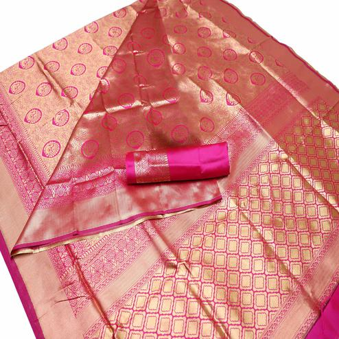 Jazzy Pink Colored Festive Wear Woven Banarasi Silk Saree