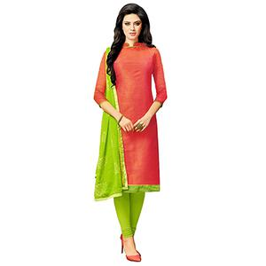 Crimson Red - Parrot Green Color Casual Wear Suit