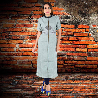 Trendy Grey Cotton Kurti
