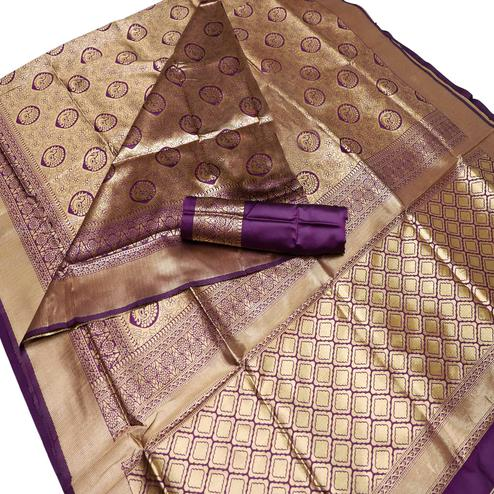 Engrossing Purple Colored Festive Wear Woven Banarasi Silk Saree