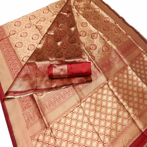 Fantastic Red Colored Festive Wear Woven Banarasi Silk Saree