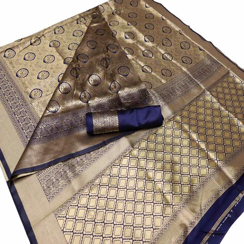 Amazing Navy Blue Colored Festive Wear Woven Banarasi Silk Saree
