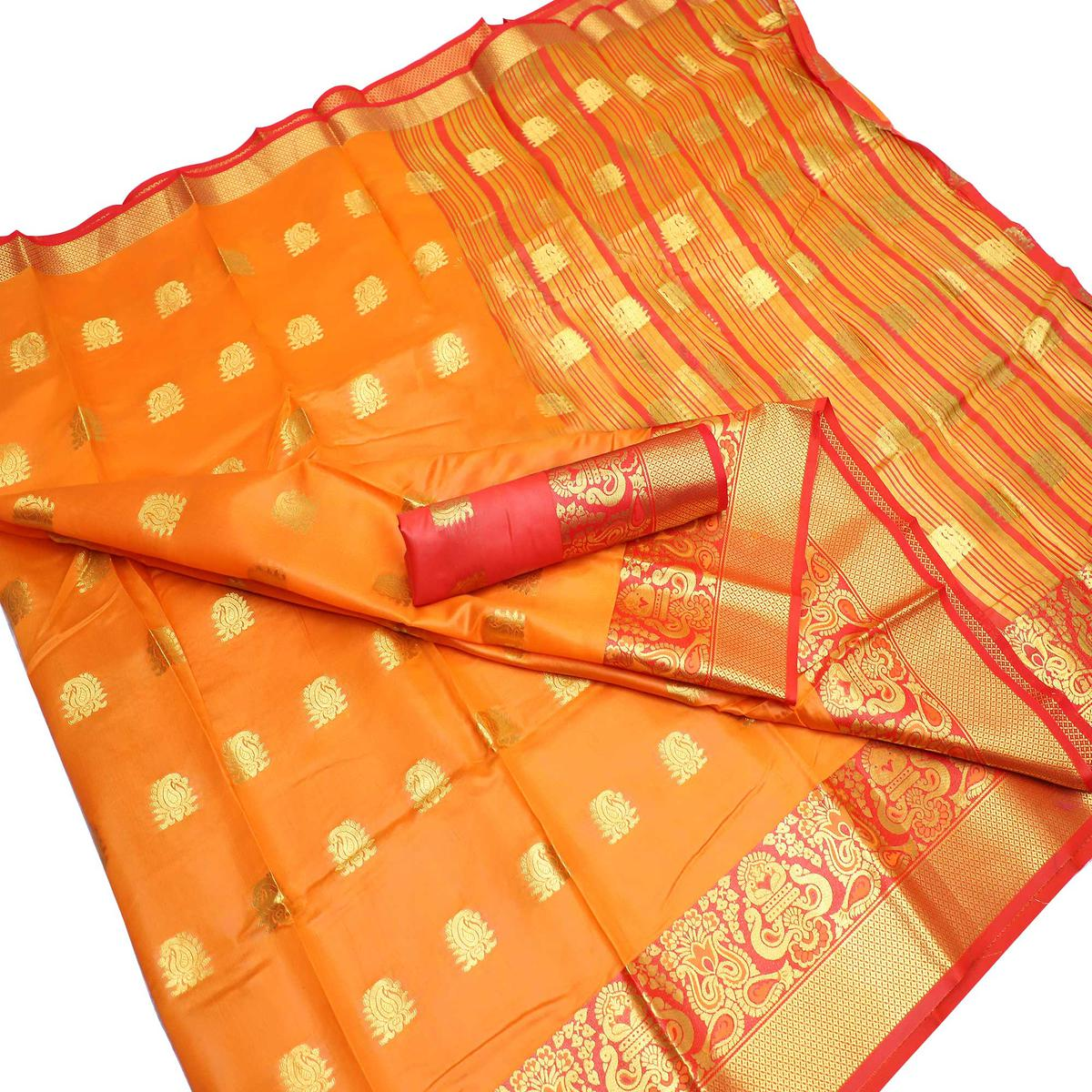 Hypnotic Orange Colored Festive Wear Woven Litchi Banarasi Silk Saree