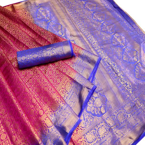 Sophisticated Pink-Blue Colored Festive Wear Woven Nylon Saree