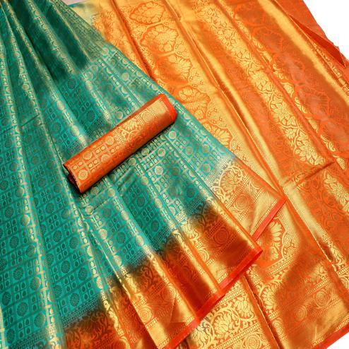 Trendy Teal Green Colored Festive Wear Woven Nylon Saree