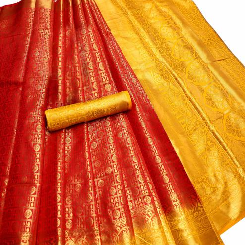 Glowing Red Colored Festive Wear Woven Nylon Saree