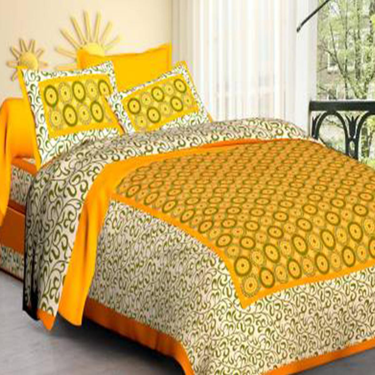 Delightful Yellow Colored Polka Dot Screen Print Cotton Bedsheet With Pillow Cover