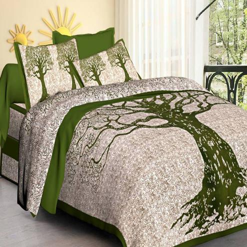 Imposing Green Colored Tree Screen Print Double Cotton Bedsheet With Pillow Cover