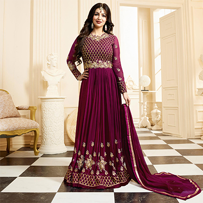 Gorgeous Party wear Rani Pink Designer Embroidered Georgette Anarkali Suit