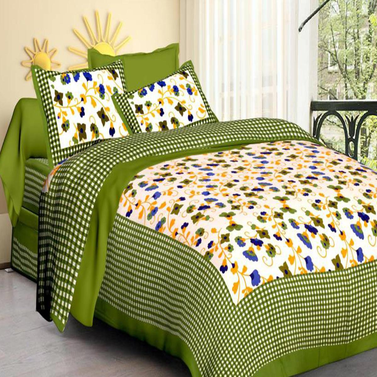 Surpassing Green Colored Floral Print Cotton Bedsheet With Pillow Cover