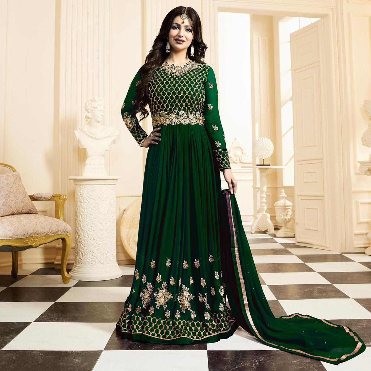 Gorgeous Party wear Green Designer Embroidered Georgette Anarkali Suit