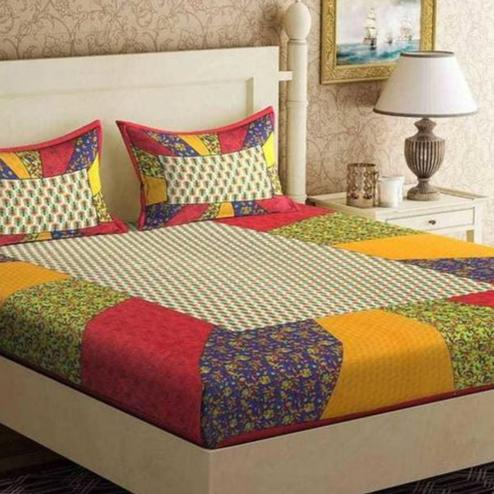 Energetic Multi Color Stripe Printed Cotton Bedsheet With Pillow Cover