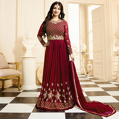 Gorgeous Party wear Maroon Designer Embroidered Georgette Anarkali Suit