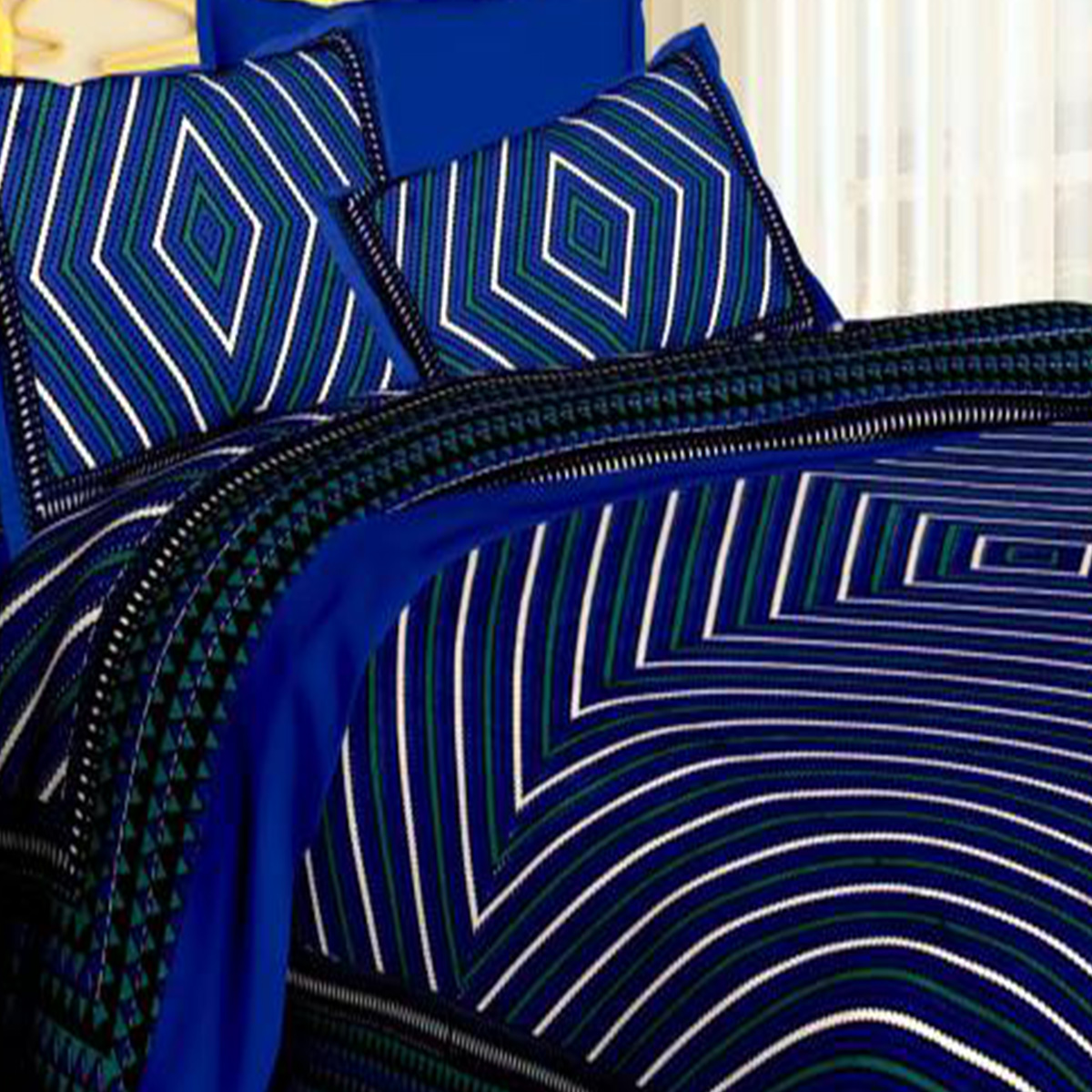 Excellent Blue Colored Lining Pattern Cotton Bedsheet With Pillow Cover