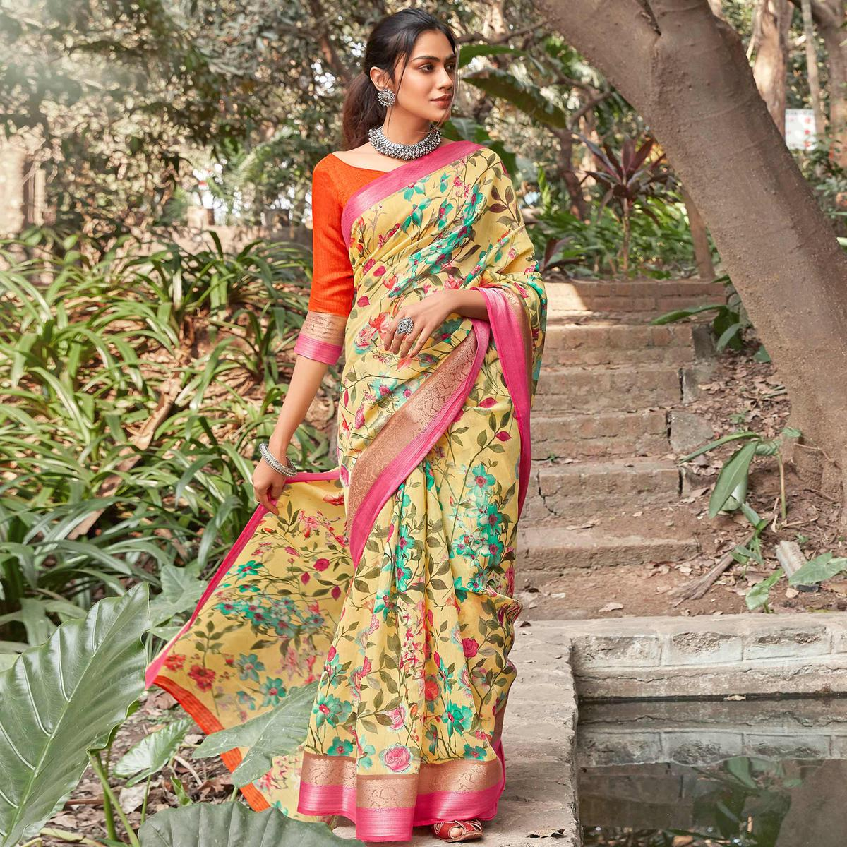 Trendy Beige Colored Partywear Floral Printed Linen Silk Saree