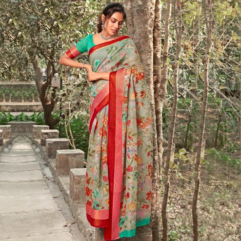 Radiant Grey Colored Partywear Floral Printed Linen Silk Saree